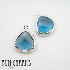 Colored Glass Small Teardrop Framed Faceted Stone Pendant Jewelry Findings -2pc
