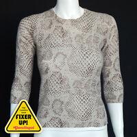 White+Warren 100% Cashmere Snakeskin Womens Crew Sexy Sweater Small Brown 7169