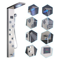 Brushed Nickel Shower Panel Tower LED Rain Waterfall Massage Body System Jets