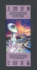 Original Super Bowl XXVI Unused Game Ticket Redskins Bills Metrodome 1992 NM