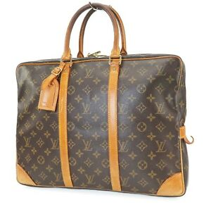 Authentic LOUIS VUITTON Porte-Documents Voyage Monogram Briefcase Bag #40479