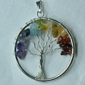 Silver plated Tree of Life Pendant, Tree of Life Pendant, Multicolored Pendant