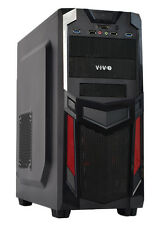VIVO ATX Mid Tower Computer Gaming PC Case Black Red/ 3 Fan Mount, Dual USB 3.0