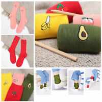 1 Pair New cool style 3D Fruit Embroidery Hosiery Knee-High Cotton Warm Socks