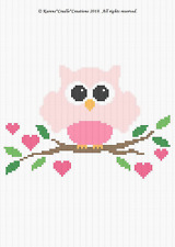 Crochet Pattern/Patterns - OWL ON A BRANCH -  Baby Graph/CHART Afghan Pattern