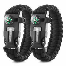 2 Paracord SURVIVAL Bracelet Fire Starter Compass Eye Knife X-Plore Gear Lot 2
