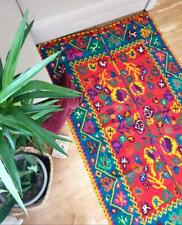 Very old Romanian kilim, vintage blue yellow and red item, handmade. Antique rus