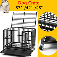 """37""""/42""""/48"""" Large Heavy Duty Dog Crate Pet Kennel Metal Cage W/Wheels & Tray"""