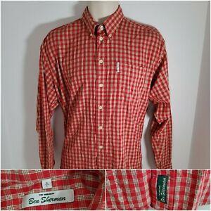 Ben Sherman Button Shirt Long Sleeve Red Oxford Mens Vintage UK Size Large