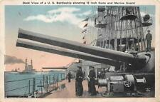 BATTLESHIP 12 INCH GUNS & MARINE GUARD MILITARY POSTCARD