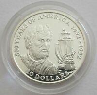 Cook-Inseln 10 Dollars 1990 500 Jahre Amerika Alter Chrisoph Kolumbus Silber