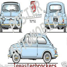 FIAT 500D / NUOVA 500 Affiche fiche Poster voiture collection