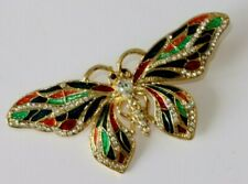 Simply Beautiful Multi Colours Enamel Butterfly Gold Tone with Crystals Brooch