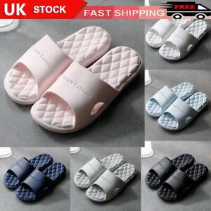 UK Unisex Comfort Soft Shower Stripe Summer Women Men Shoes Bathroom Slippers