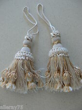 SET OF 2 FRENCH PALE GOLD TASSEL POMPONS HOME DECORATION NEW