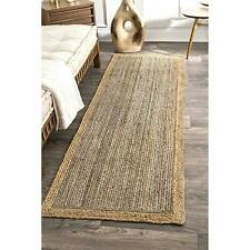 Rug Runner Jute Handmade Braided style 2x8ft Reversible rustic look Natural Rug