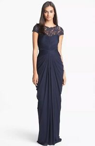 Adrianna Papell Lace Yoke Drape Gown US size 14