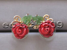 S2262 Natural 9mm Red Coral Rose Green Jasper Leaf Stud Earring