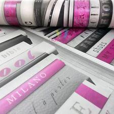 Muriva Fashion Library Book Shelf Pattern Wallpaper Metallic Glitter Pink 139501