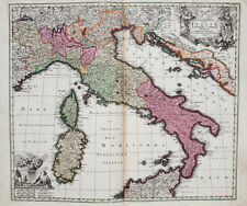 c1730 Italien Italia Kolorierte Kupferstich-Landkarte Seutter