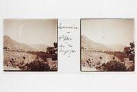 Taormina Etna Italia Placca Da Lente Stereo Positivo Vintage PL33L6P-7