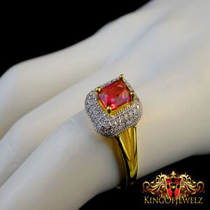 925 Italian Silver Ladies 2 Tone Ruby Red Gemstone Solitaire Cocktail Party Ring