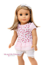 Floral Blouse Top + Lace Shorts 18 inch summer doll clothes for American Doll