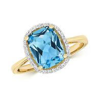 Suizo Topacio Azul&Diamante Anillo Compromiso Oro Amarillo Certificado Tasación