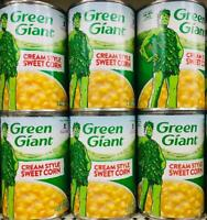 6 Cans Green Giant Cream Style Sweet Corn 15.25oz ~ FAST FREE EXPEDITED SHIP !