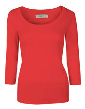Womens Tops Crop Sleeve Ladies T-Shirt Scoop Neck Cotton Coral Size 16