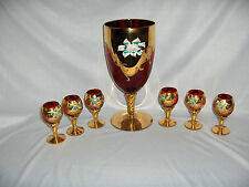 Vntg 7 Pc Murano Hand Blown Red & Gold & Flowers Cordials Goblet Decanter Italy