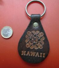 Hawaii Keyring Natural Leather Naturleder Keychain Retro