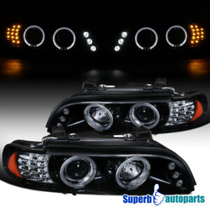 For 2001-2003 BMW E39 525 528 Halo Projector Headlights+LED Signal Glossy Black