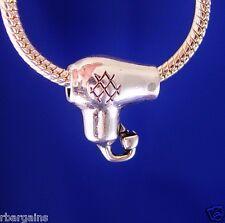 Hair Dryer Dresser Stylist Beauty Womens Girl Teen Silver European Charm Bead