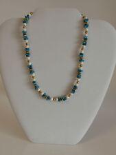 "Vintage Monet 15"" Blue White Gold Bead Choker Necklace Irregular Fake Stones"
