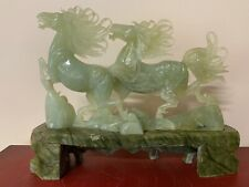 Asian Chinese Mid-20th Century Carved Serpentine Stone Double Horse Sculpture