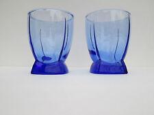 Vintage Cobalt Blue Anchor Hocking Ribbed 4 Panel Heavy Bottom Glasses Set of 2