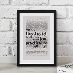 Les Miserables Life Is A Theatre Set Quote Print Book Page Artwork Framed Gift