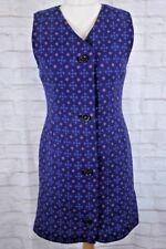Purple Tapestry Welsh Wool Dress Size M Vintage Quality Cymru Tweed Woven Wales