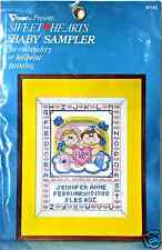 Stamped Cross Stitch Baby Sampler Sweethearts I Love You New by Vogart 8758J