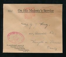 GB 1935 OFFICIAL PAID KRAG MACHINE MINISTRY of HEALTH CROWN OVAL HANDSTAMP RED