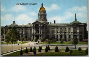 """1940s Cheyenne, Wyoming Postcard """"STATE CAPITOL"""" Building / Street View Linen"""