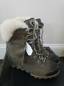 Sorel Conquest Wedge Booties Shearling Leather Boots in Nori, Sz 10, New!