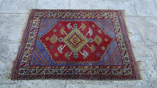 ANTIQUE WOOL PERSIAN ISLAMIC PRAYER SAROUK RUG 4' x  3'