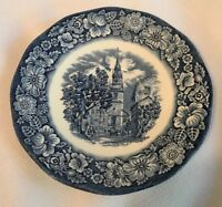 """LIBERTY BLUE  Blue & White Transferware """"Old North Church"""" Saucer -Md in England"""