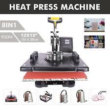 12X15'' Swing Away Heat Press  Transfer Sublimation Machine 8 in 1 for Hat Mug