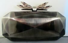 NEW Overture Judith Leiber Samantha Faceted Metal Clutch Bag, Antique Silver