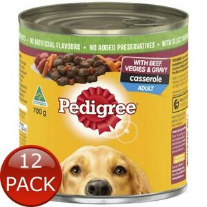 12 x PEDIGREE CASSEROLE WITH BEEF VEGGIES & GRAVY 700g CANNED WET DOG FOOD ADULT