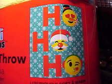 Emoji Expressions Christmas Blanket Ho Ho Ho Emojis Blue Plush Throw 50in X 60in