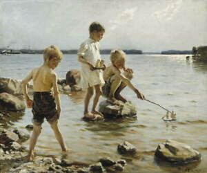 Albert Edelfelt Boys Playing on the Shore Poster Giclee Canvas Print